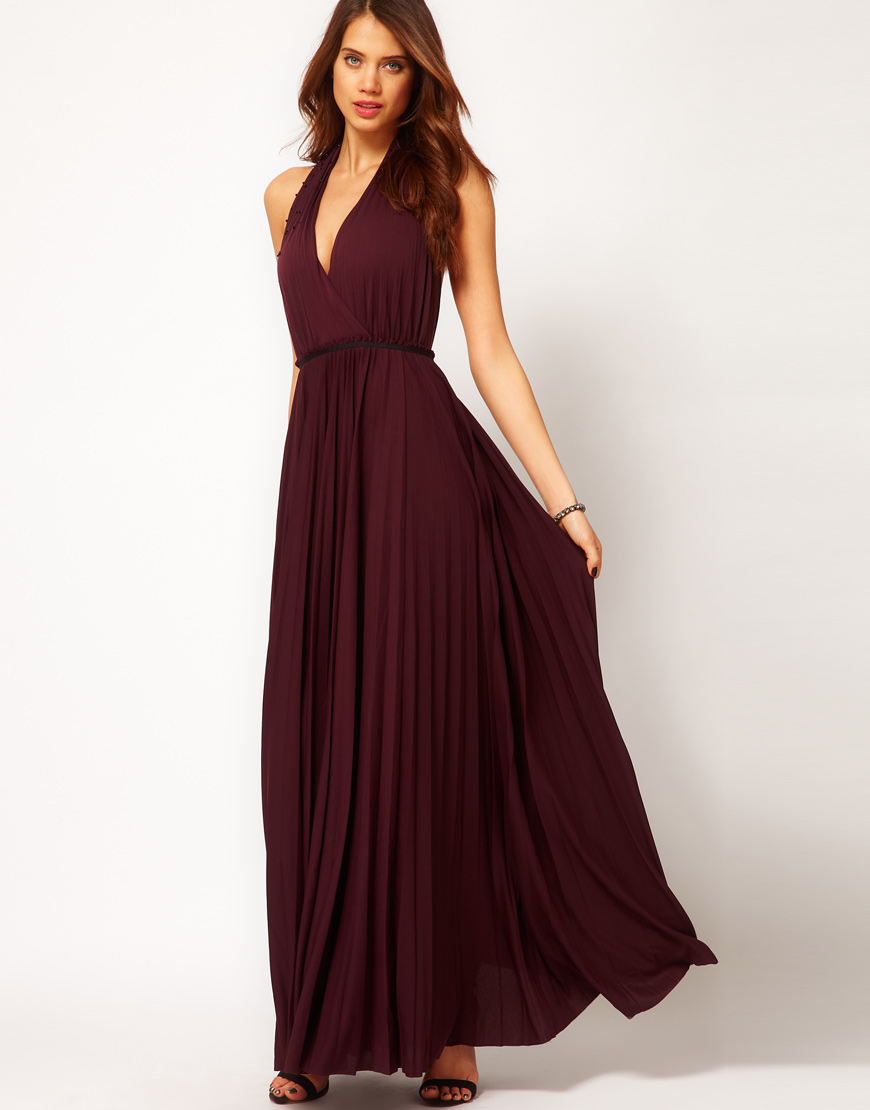 5a439d430c Lyst Halston Long Pleated Gown With Neck Design In Purple