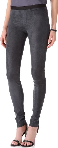 Helmut Lang Patina Stretch Leather Leggings - Lyst