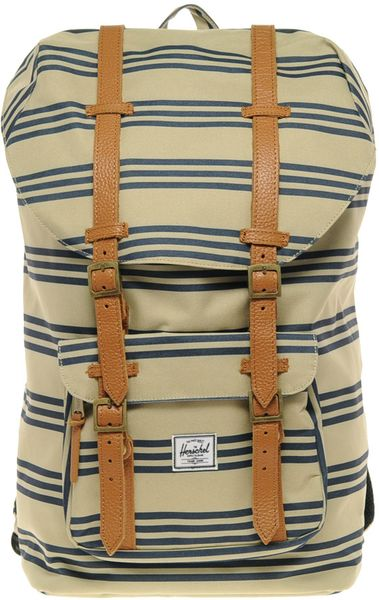 herschel supply co little america canvas backpack in beige for men lyst. Black Bedroom Furniture Sets. Home Design Ideas