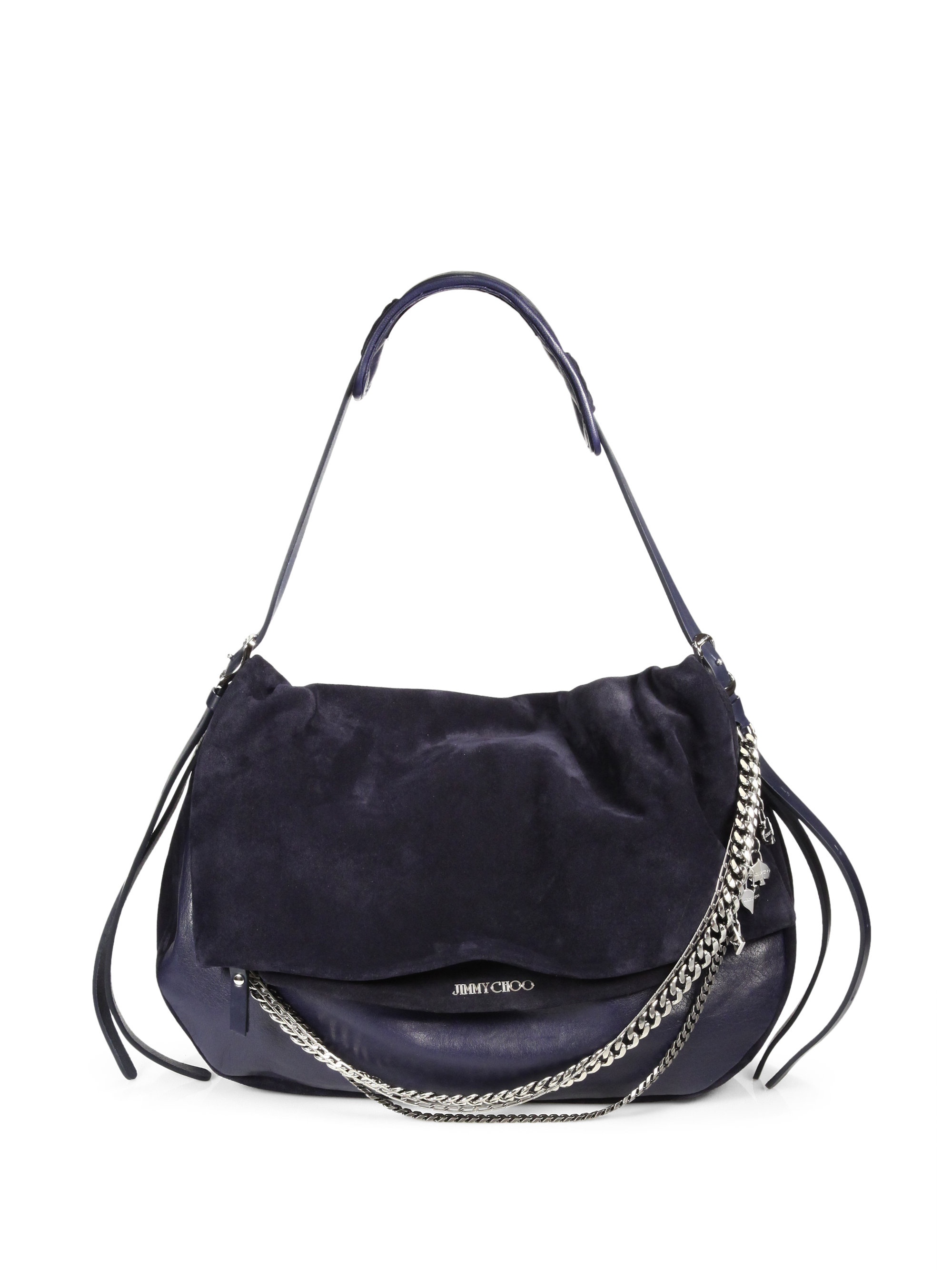 19c141477bde Lyst - Jimmy Choo Suede Leather Large Biker Bag in Black