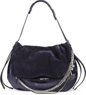 Jimmy Choo Suede Leather Large Biker Bag - Lyst