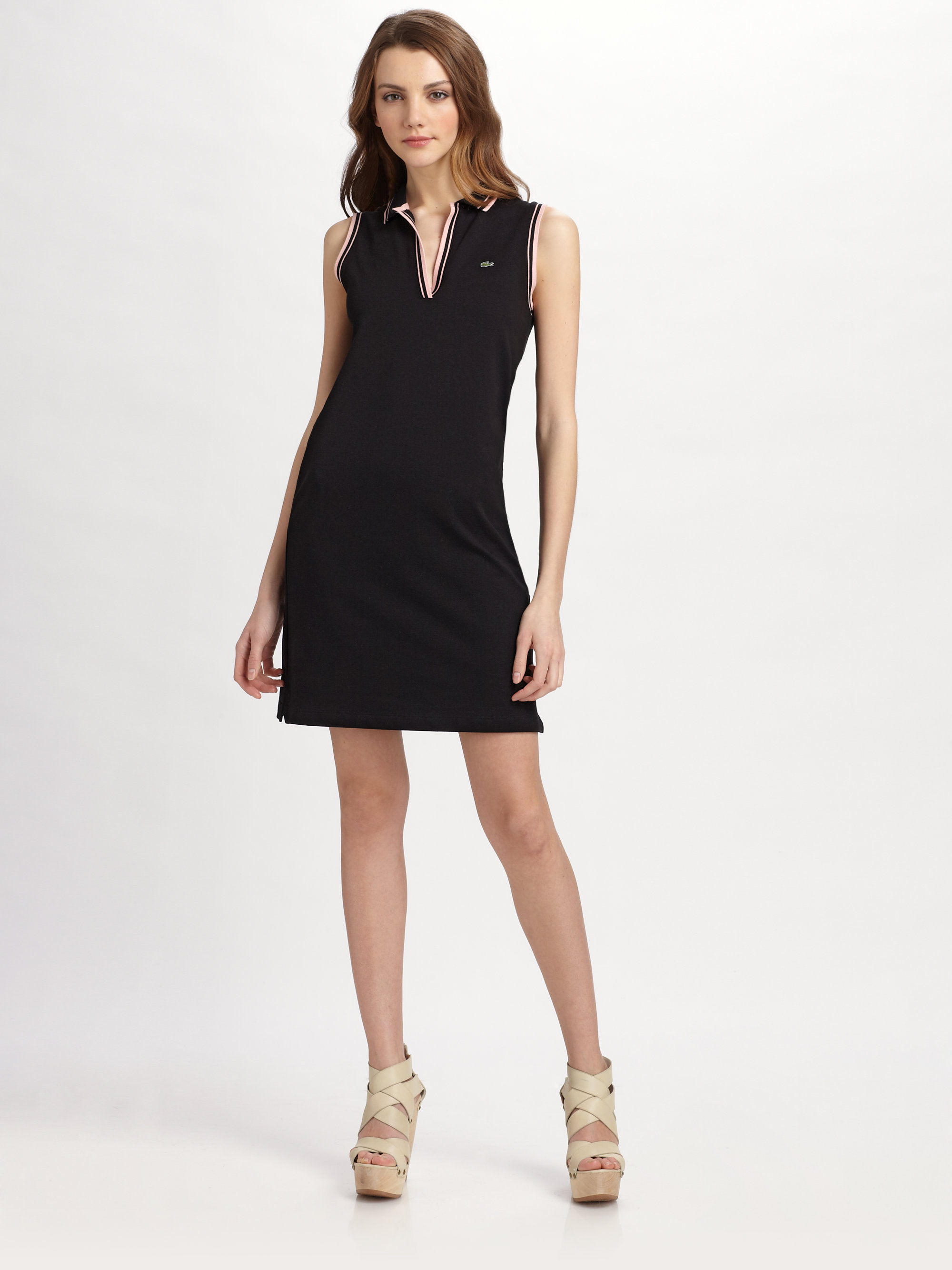 Lyst - Lacoste Stretch Cotton Piqué Sleeveless Polo Dress ...