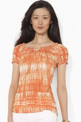 Lauren by Ralph Lauren Laceup Scoop Neck Top - Lyst