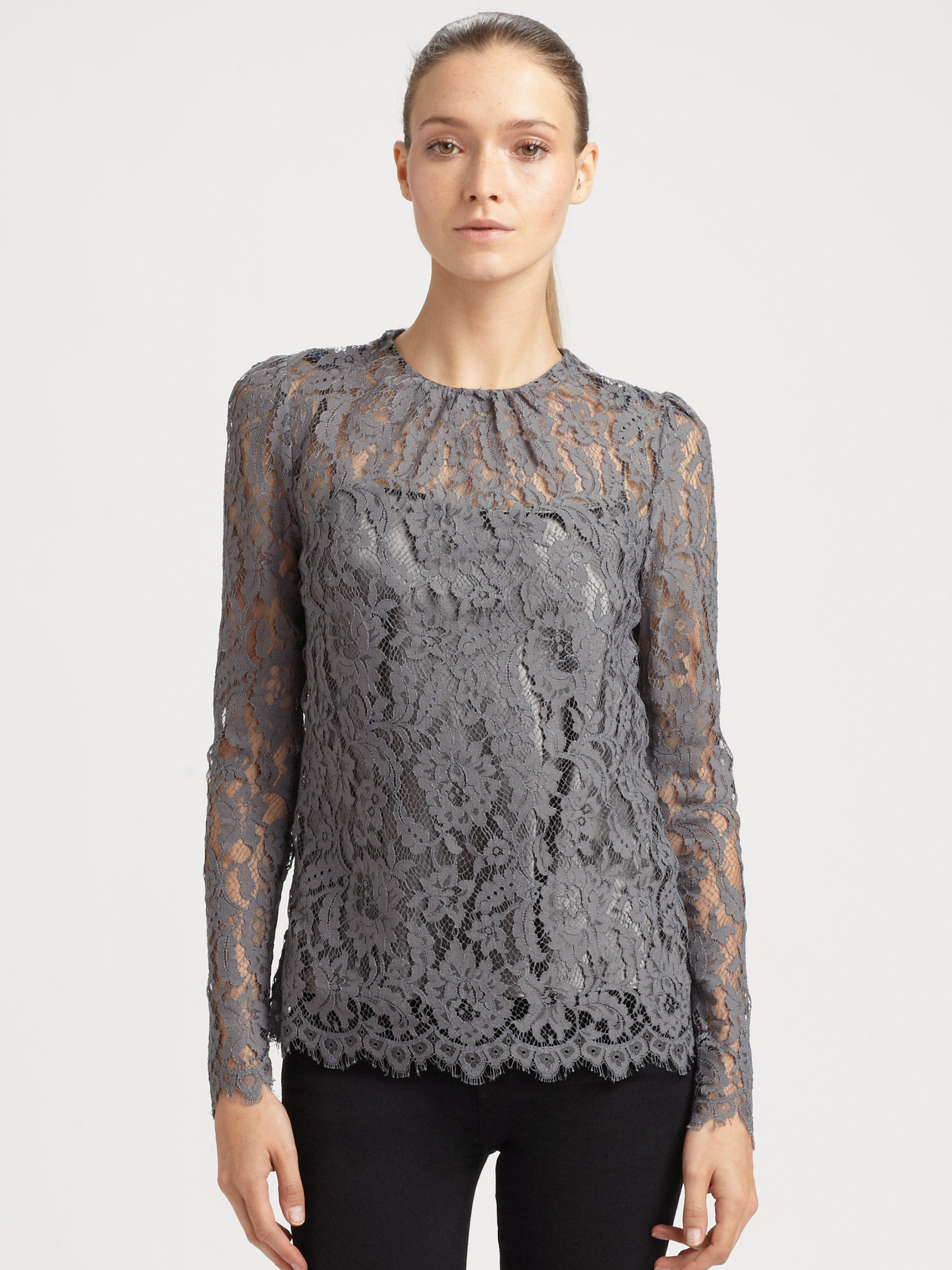 Lyst Milly Ivy Lace Top In Gray