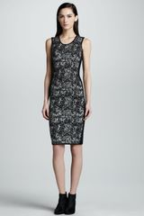 Narciso Rodriguez Sleeveless Jacquard Sheath Dress Blackwhit - Lyst