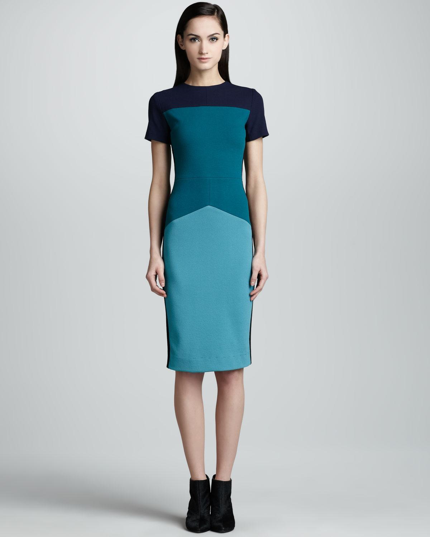 Narciso Rodriguez Colorblock Pebble Crepe Jersey Dress