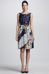 Oscar de la Renta Collageprint Satin Dress Navywhi - Lyst