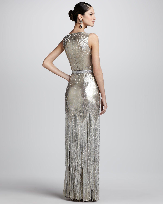 Oscar De La Renta Beadfringe Sleeveless Column Gown In Metallic Lyst