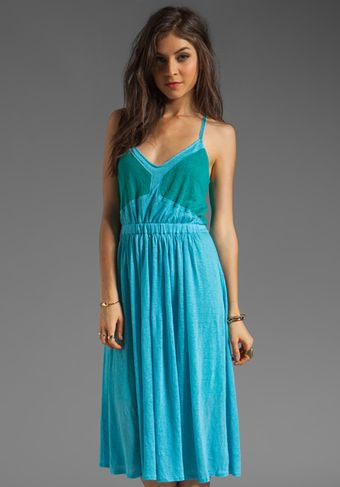 Plenty By Tracy Reese Solid Linen Jersey Color Blocked Dress in Blue Atoll tropical Green - Lyst
