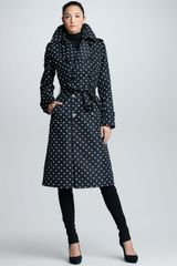 Ralph Lauren Black Label Polkadot Trench Coat Blackivory - Lyst