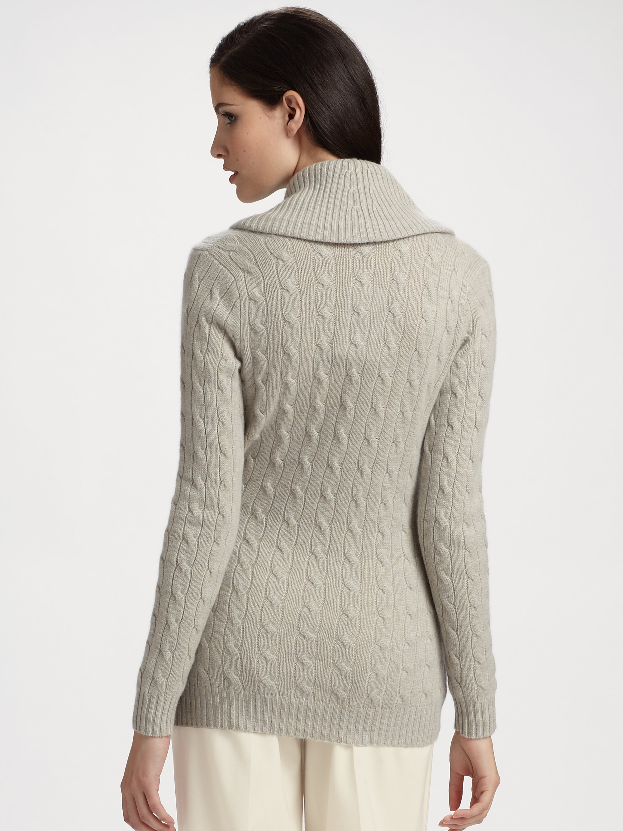 Ralph lauren black label Cashmere Wrap Front Sweater in Gray | Lyst