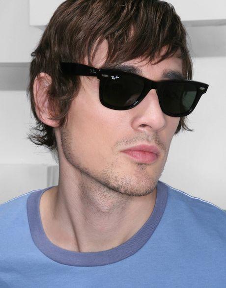 ray ban wayfarer men  ray ban wayfarer sunglasses 0rb2140 901 47 in black for men .