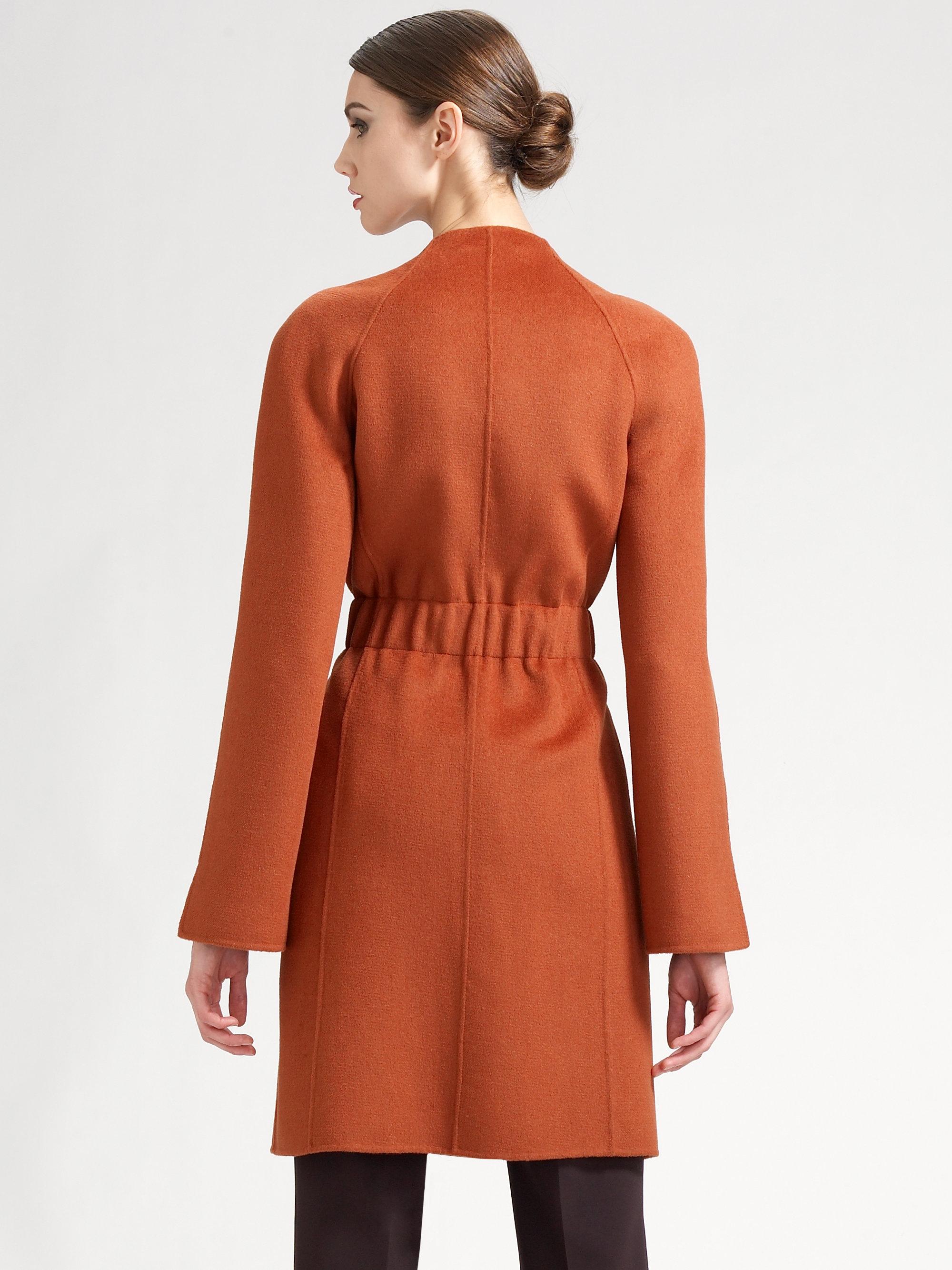 St John Cashmere Blend Belted Coat In Orange Russett Lyst