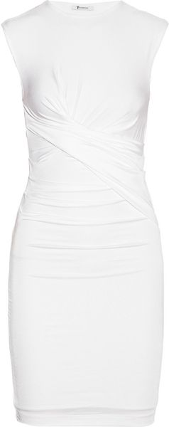 T By Alexander Wang Ruched Meshjersey Dress - Lyst