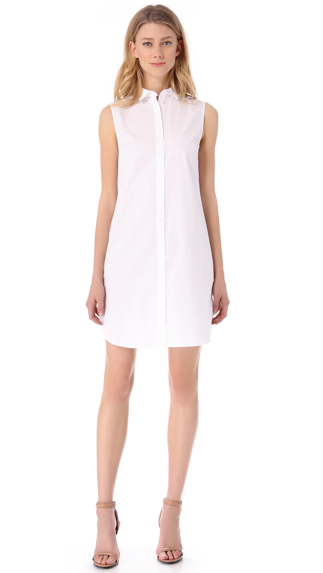 lyst t by alexander wang sleeveless shirt dress in white