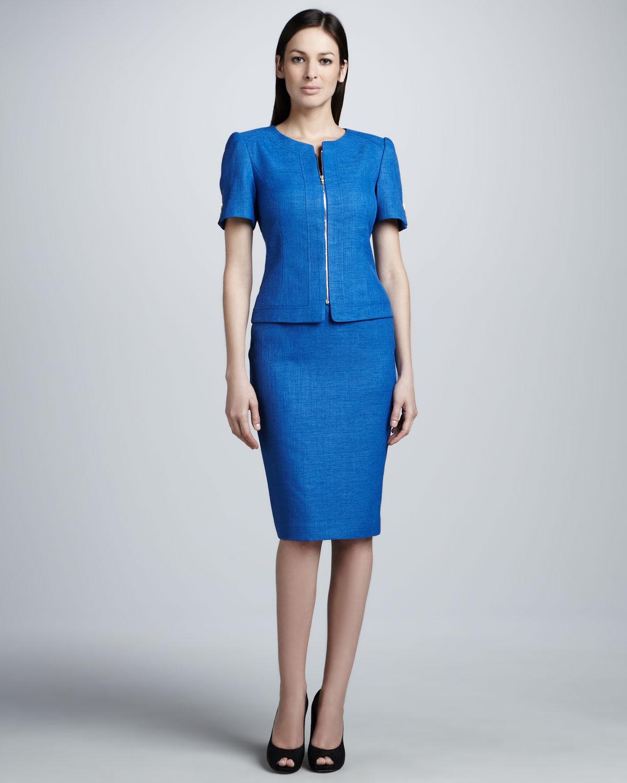 Lyst Tahari Shortsleeve Skirt Suit In Blue