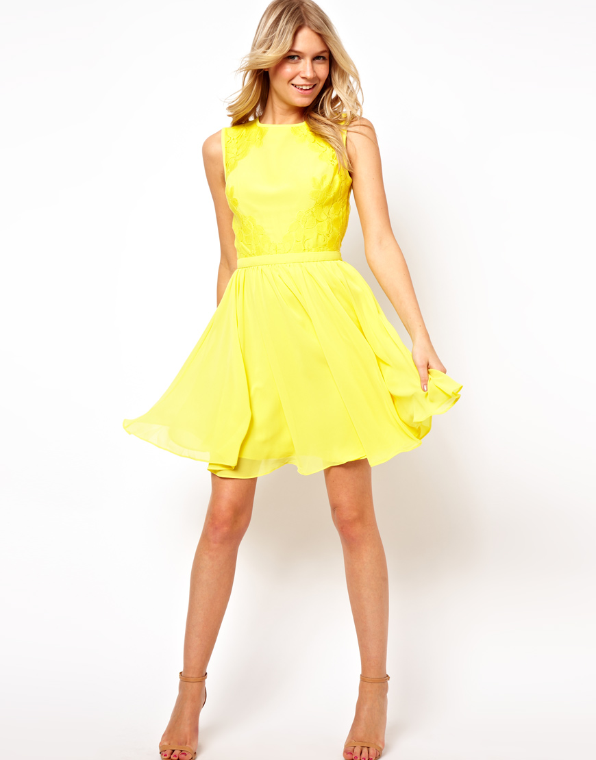 Lyst - Ted Baker Dress with Lace Detail in Yellow