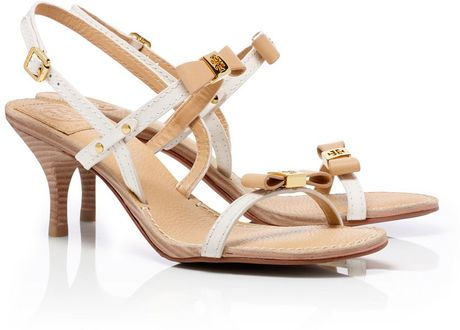 Tory Burch Kailey Mid Heel Sandals in Beige (iced coffee/bleach)