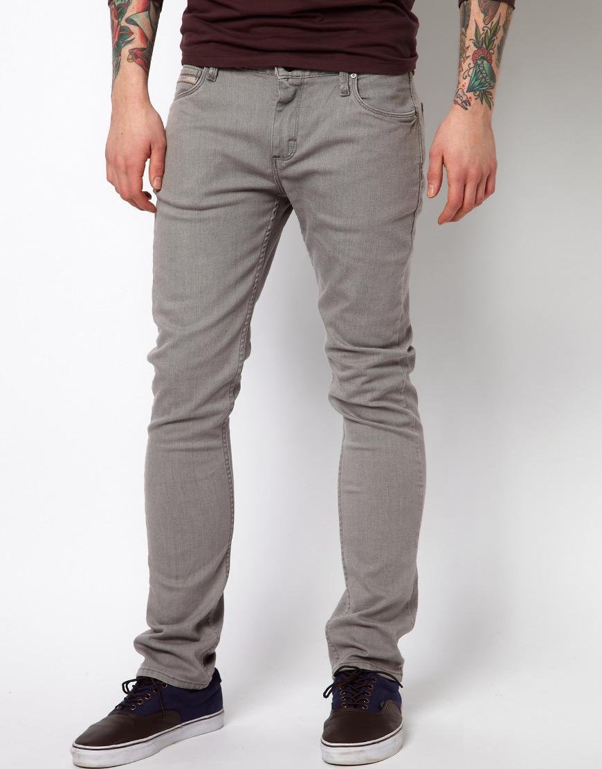 vans jeans v76 skinny fit grey washed in gray for men  lyst