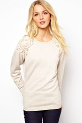 Asos Jumper with Lace Shoulder Inserts - Lyst