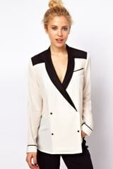 Asos Blouse with Tuxedo Collar in Colourblock - Lyst