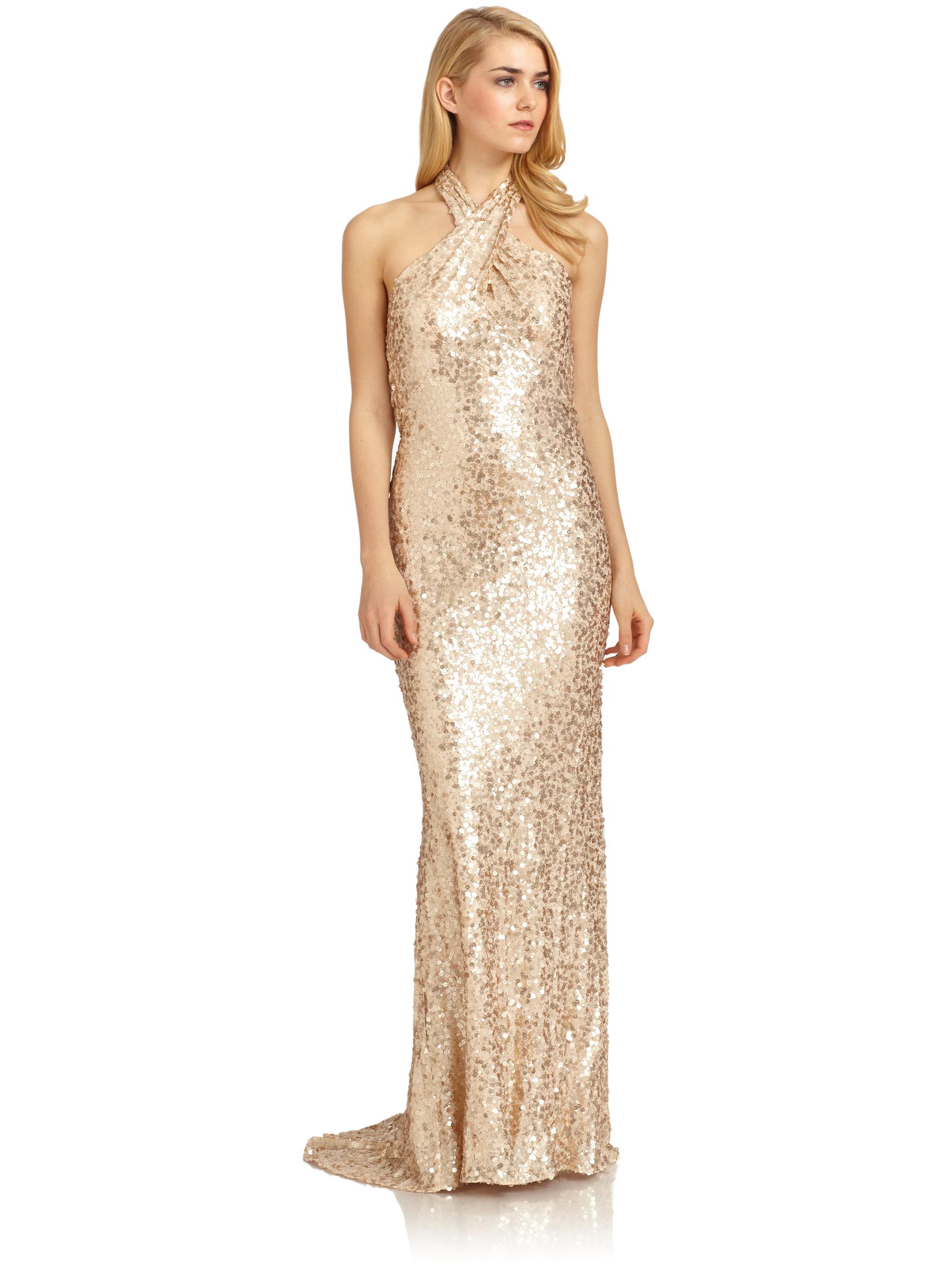 lyst  badgley mischka silk sequin crossover halter gown