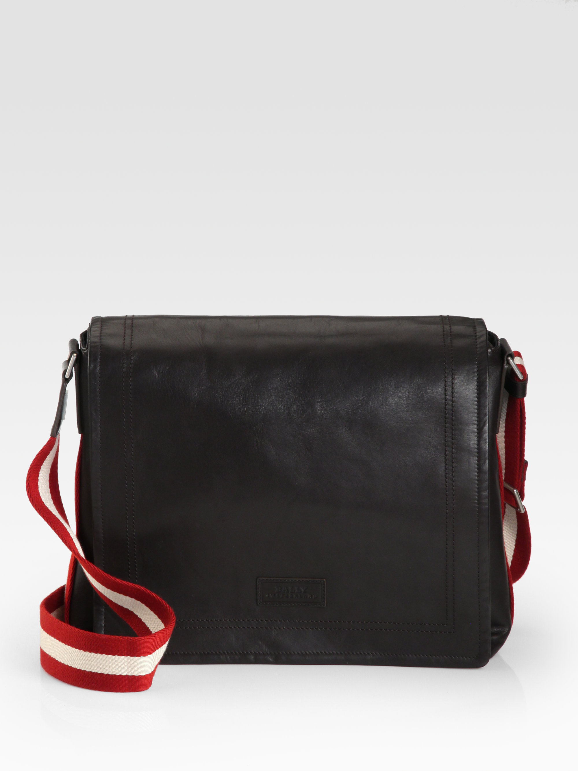 bally leather messenger bag in brown for men lyst