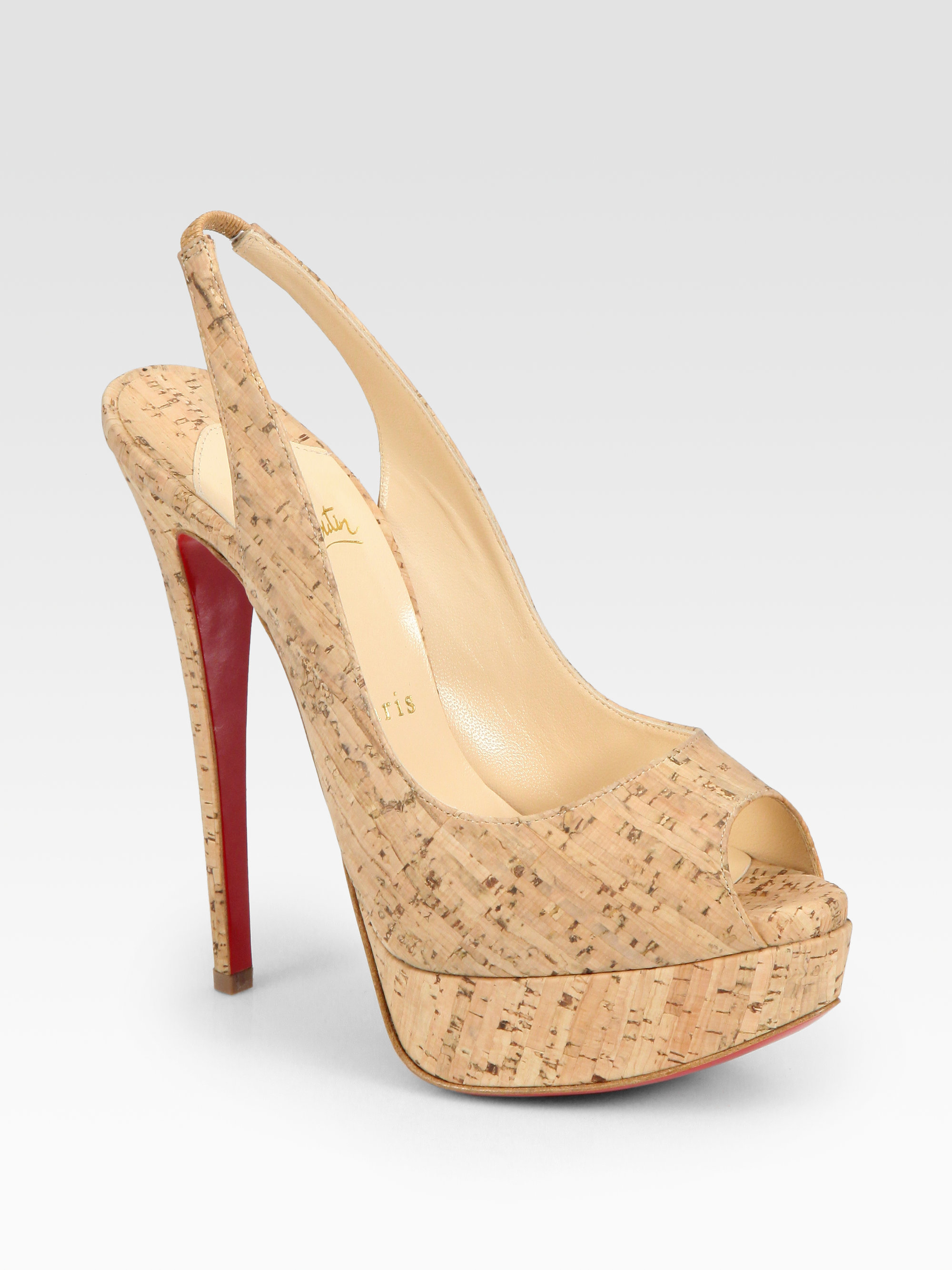christian louboutin lady cork peep toe slingback platform. Black Bedroom Furniture Sets. Home Design Ideas