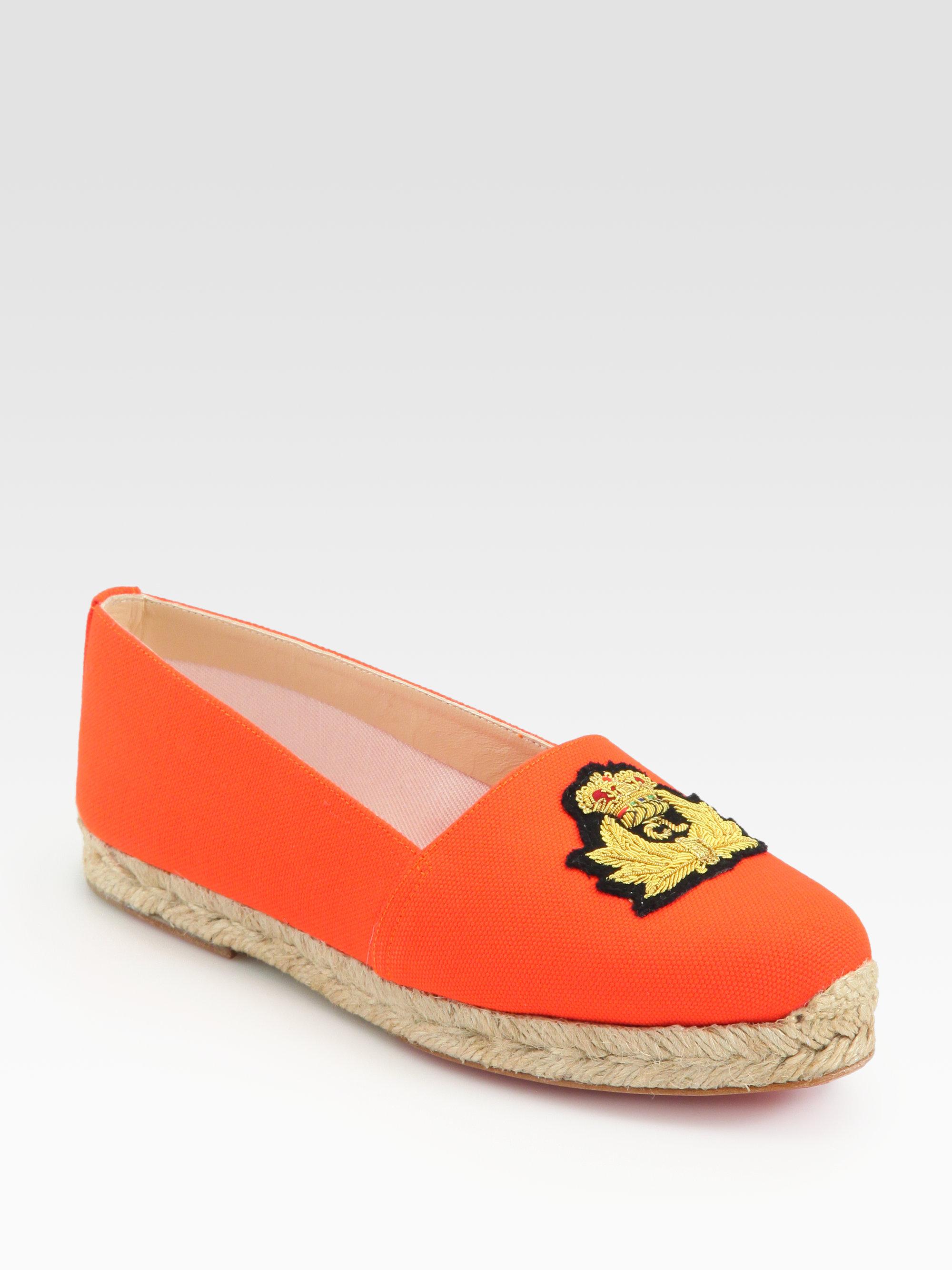 lyst christian louboutin galia canvas espadrilles in orange rh lyst com