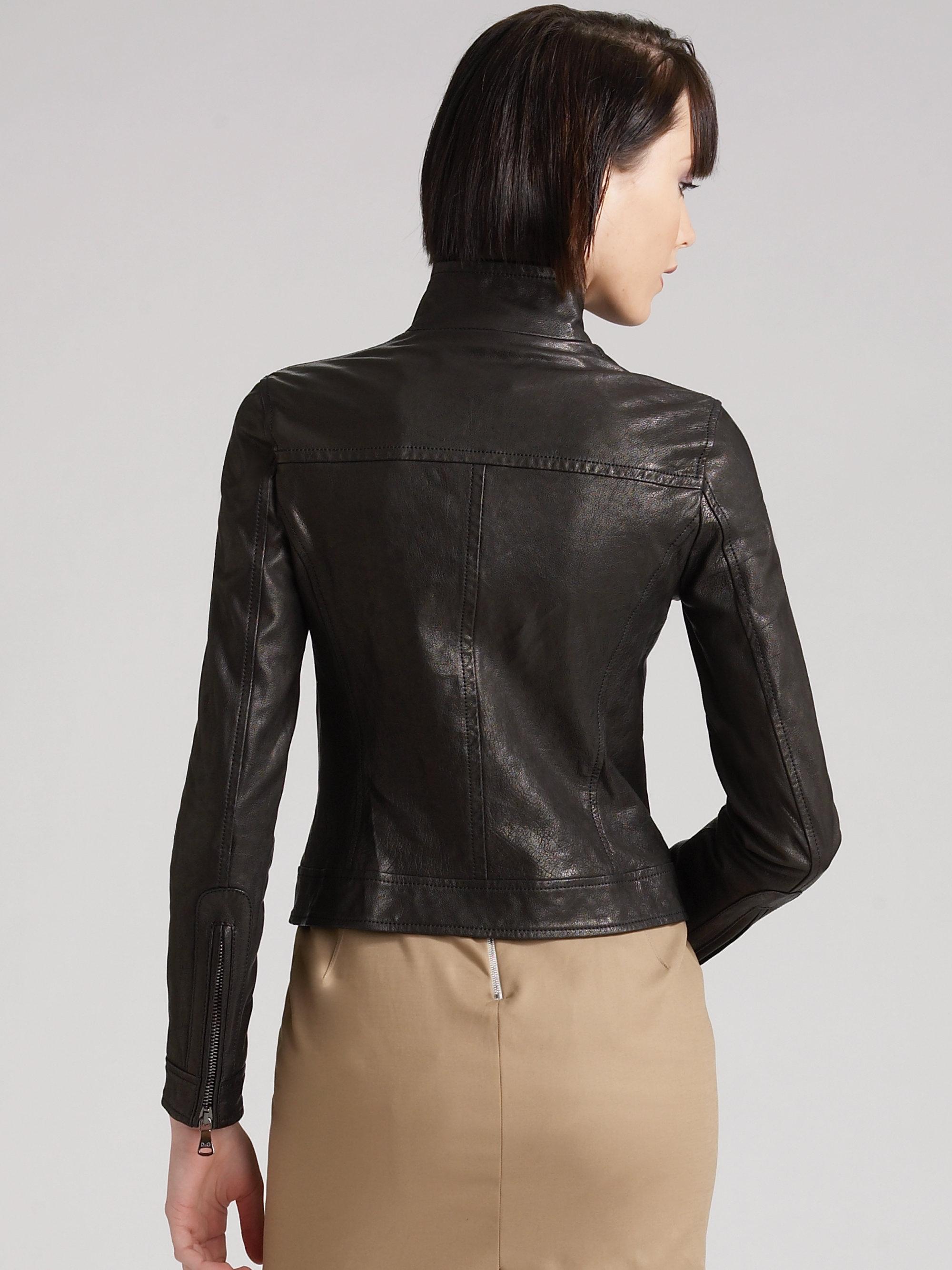 Cropped leather bomber jacket