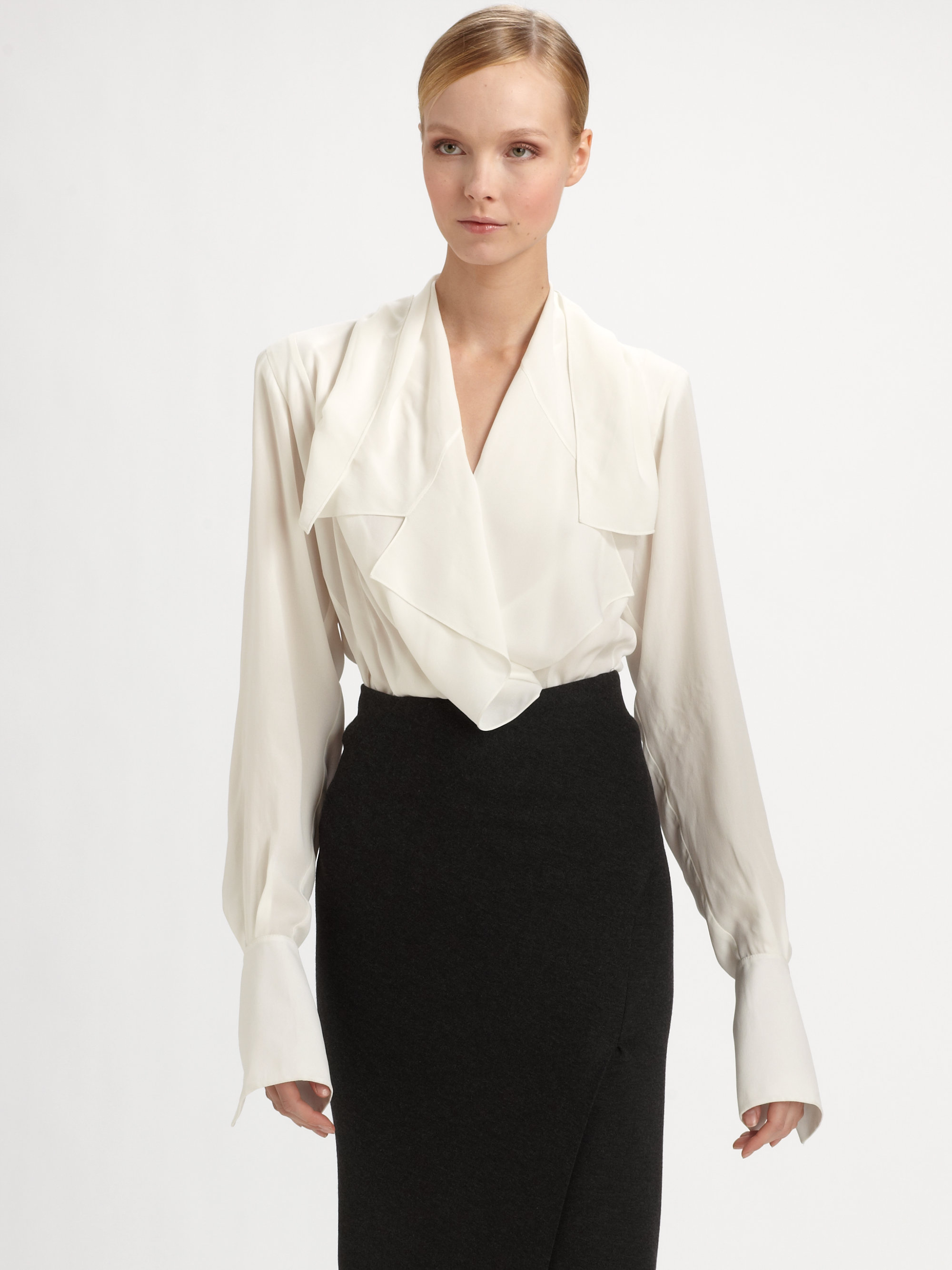 lyst donna karan wrap blouse in white