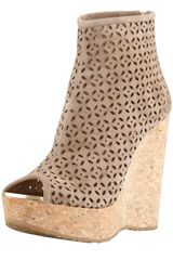 Jimmy Choo Paw Perforated Suede Cork Wedge Bootie Latte