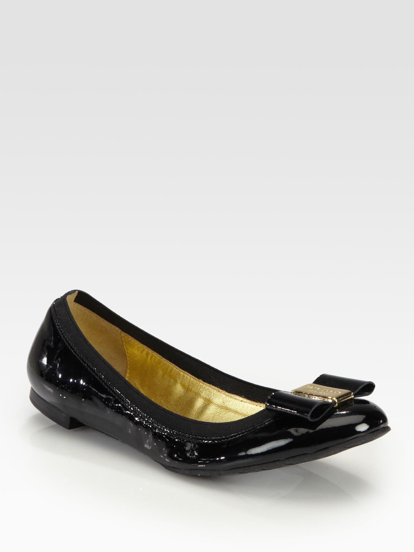 Kate spade new york tock patent leather bow ballet flats for Kate spade new york flats