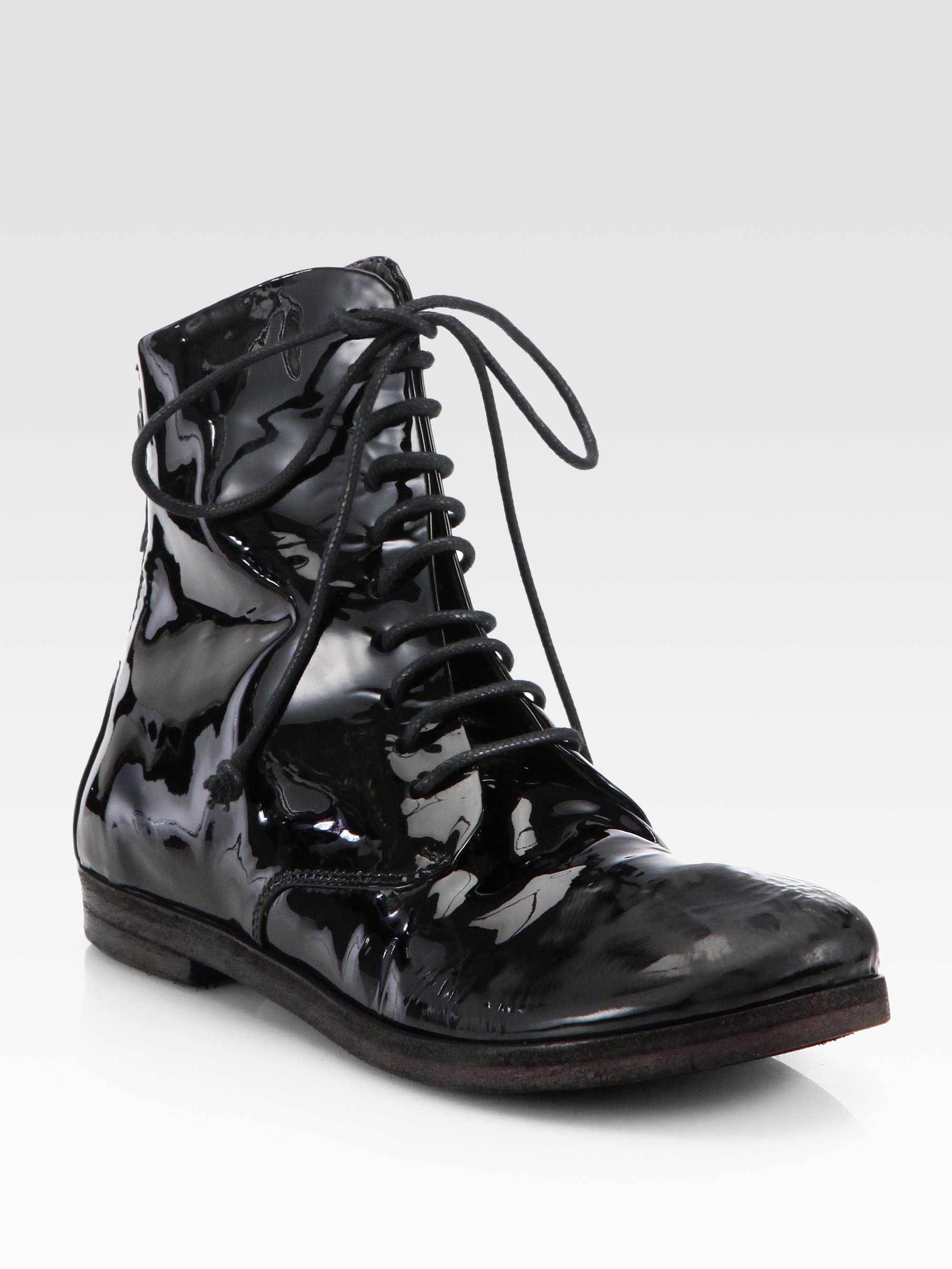 lyst mars232ll patent leather laceup combat boots in black