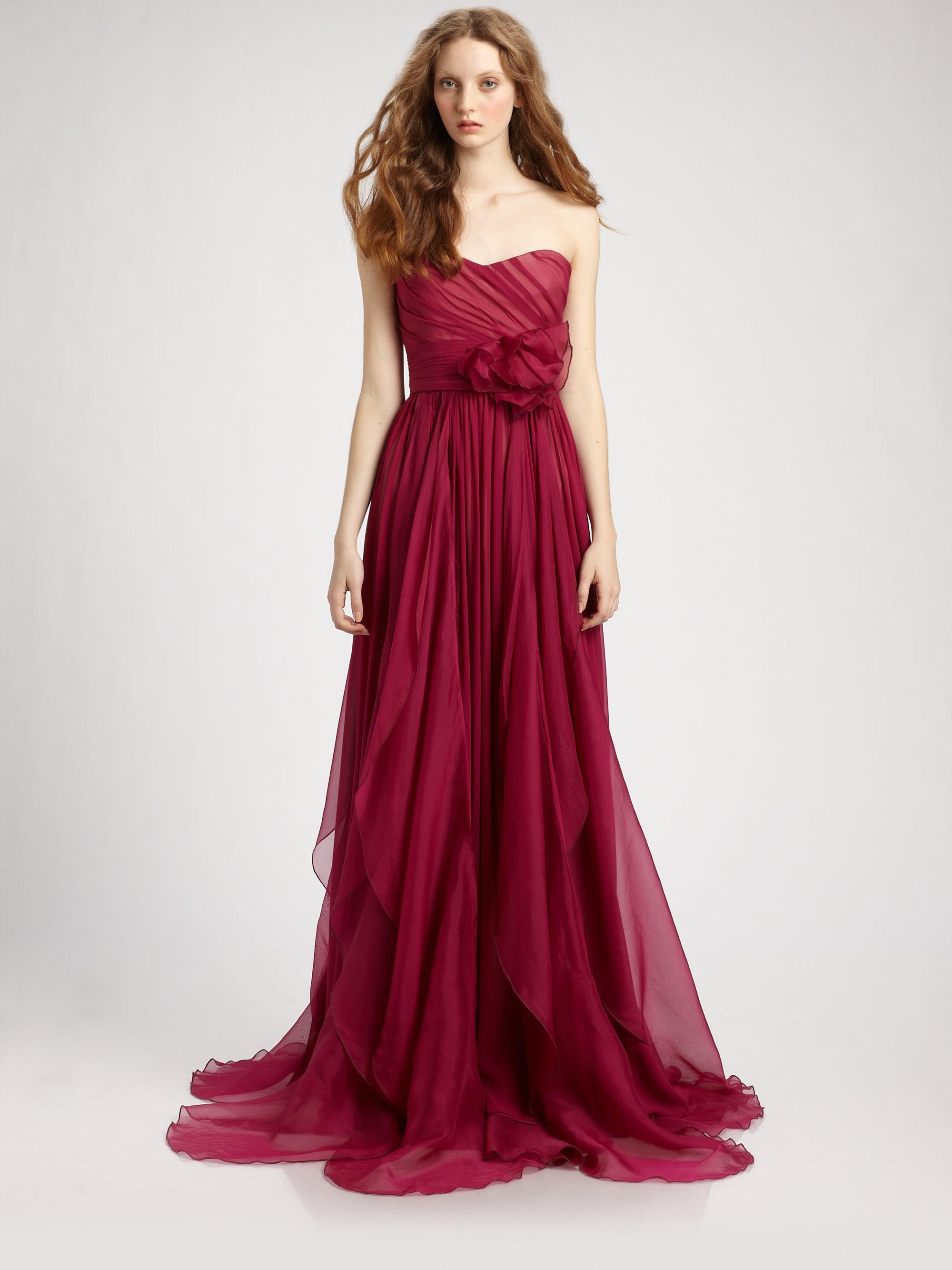 Marchesa Notte Silk Chiffon Strapless Empire Waist Gown In