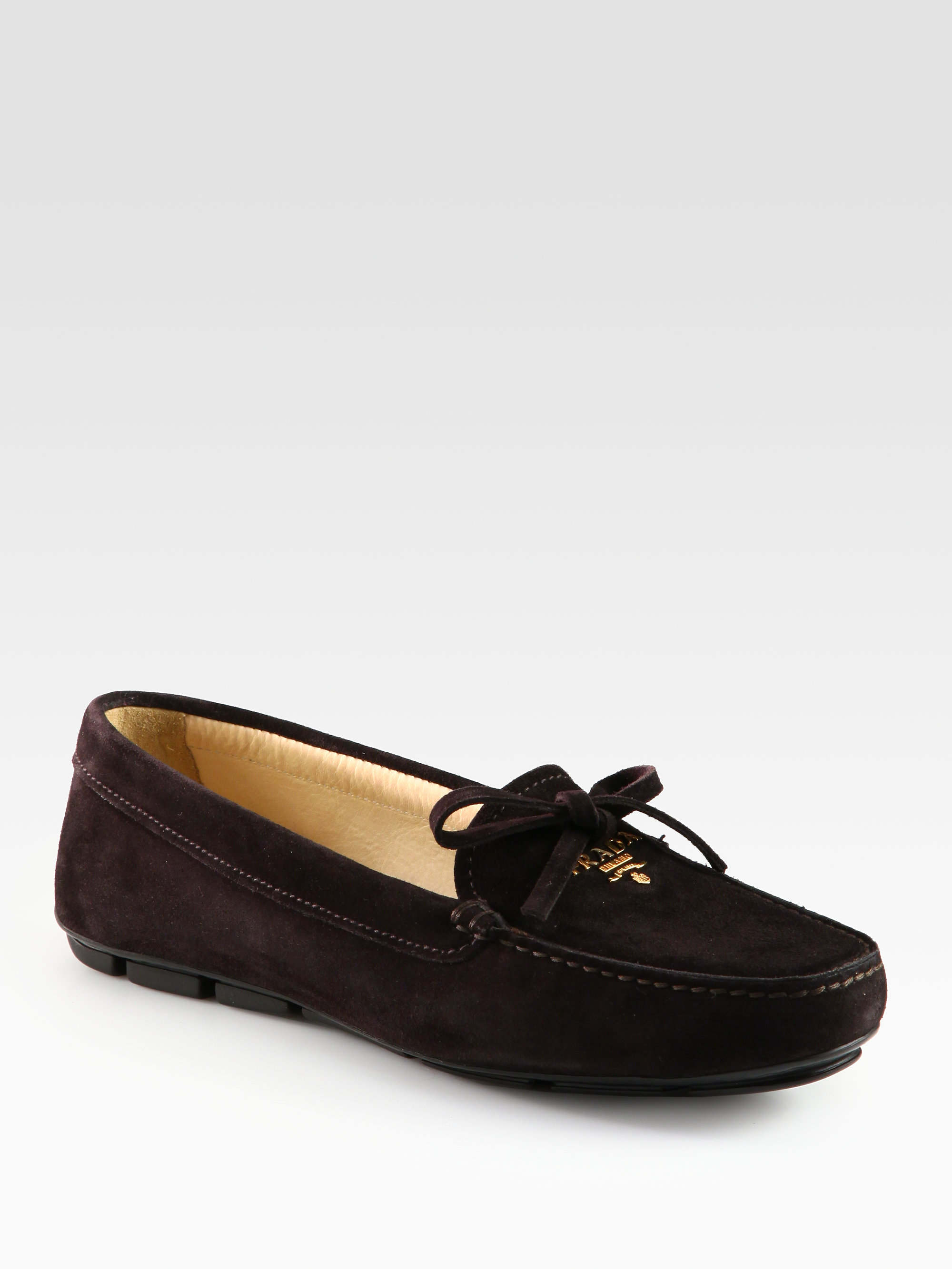 Lyst - Prada Suede Bow Drivers in Brown a684c53a2