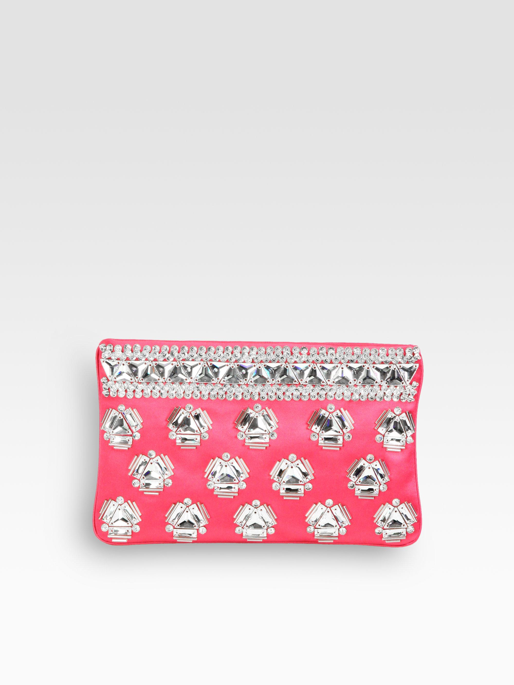parada purses - Prada Raso Jeweled Satin Clutch in Pink (fuxia-fuchsia) | Lyst