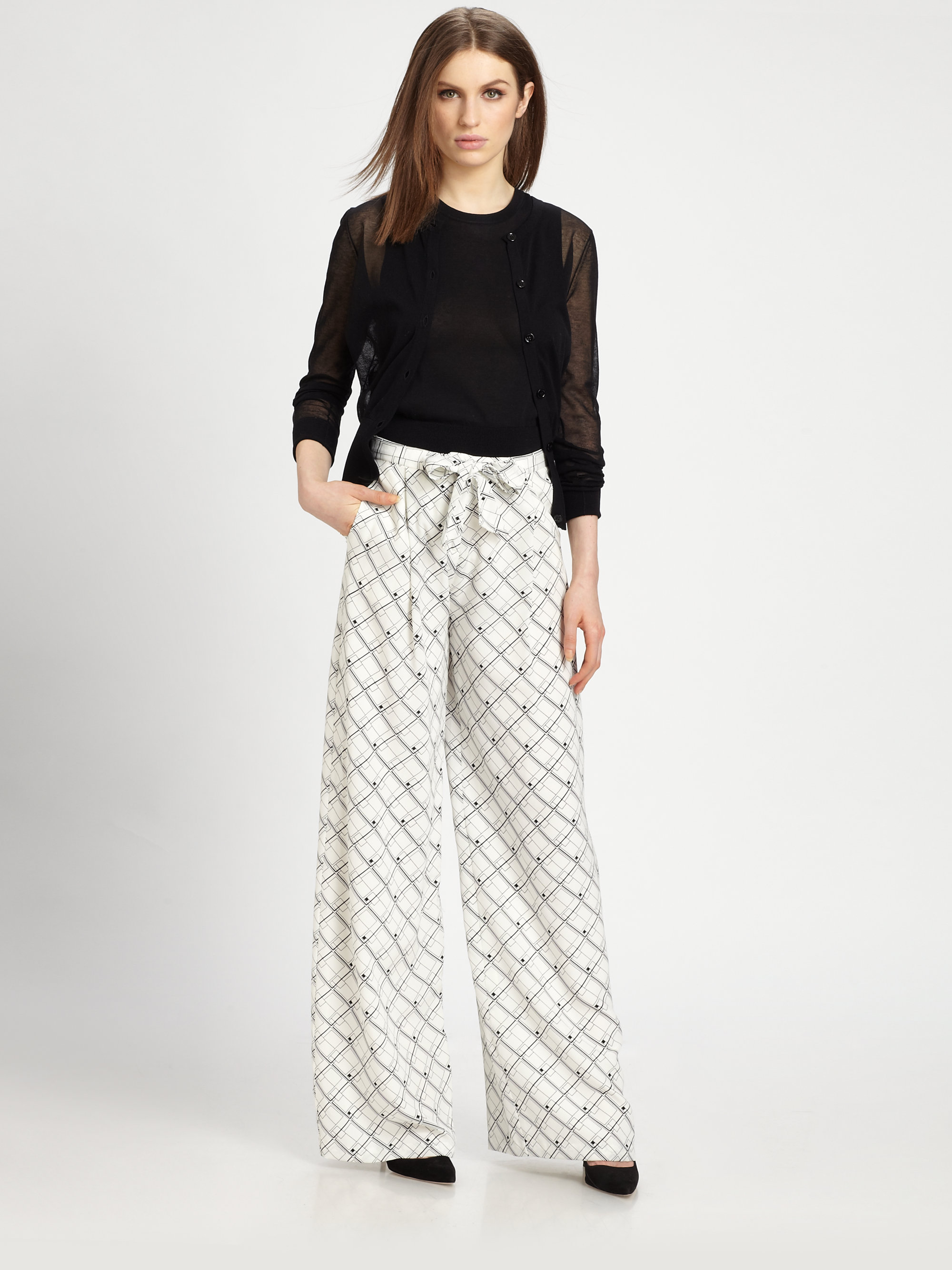 Lyst Raoul Silk Printed Palazzo Pants In White