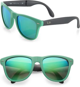 Ray-Ban Folding Round Rubber Wayfarer Sunglasses - Lyst