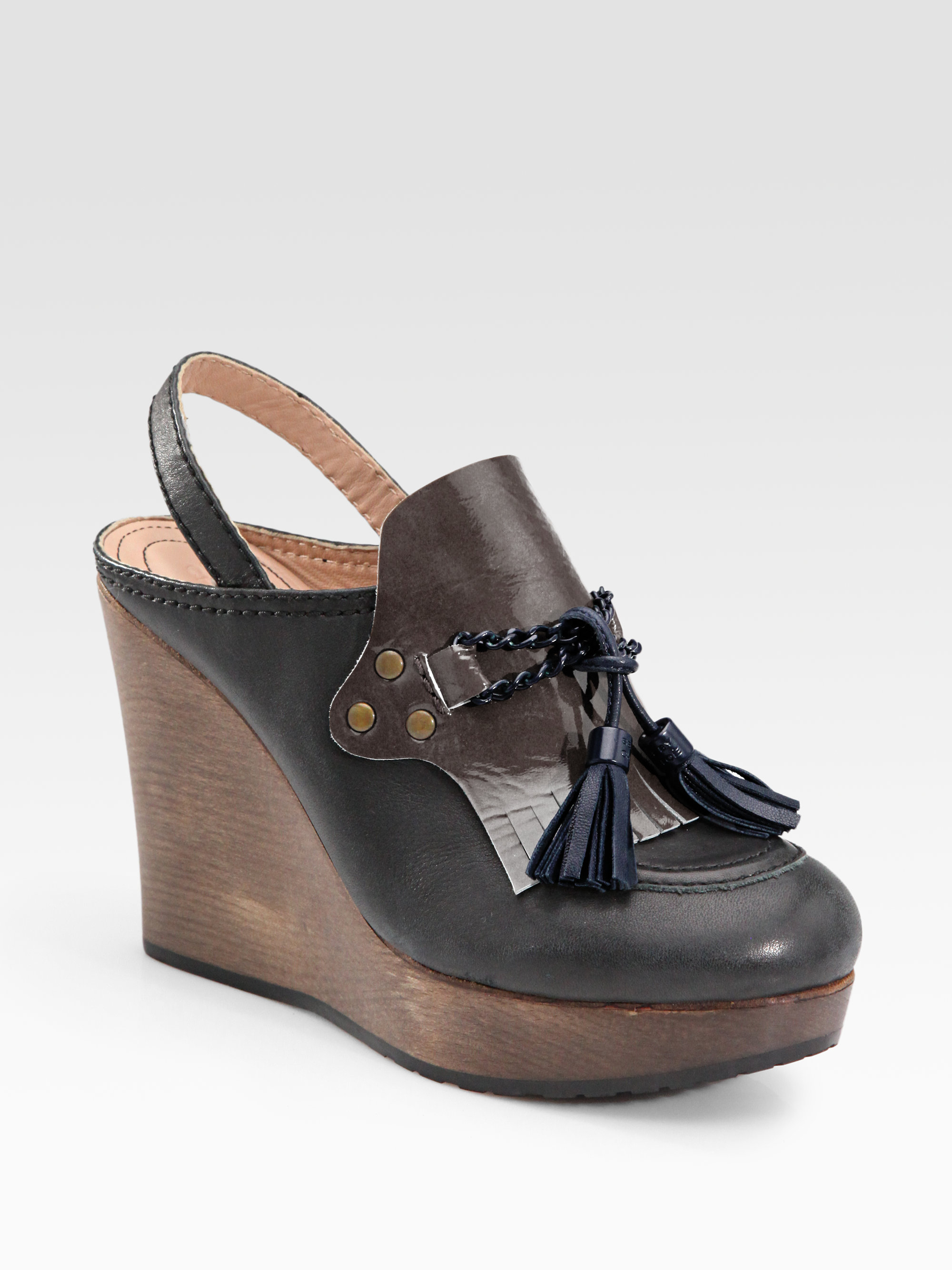 Lyst See By Chlo 233 Kiltie Leather Slingback Moccasin