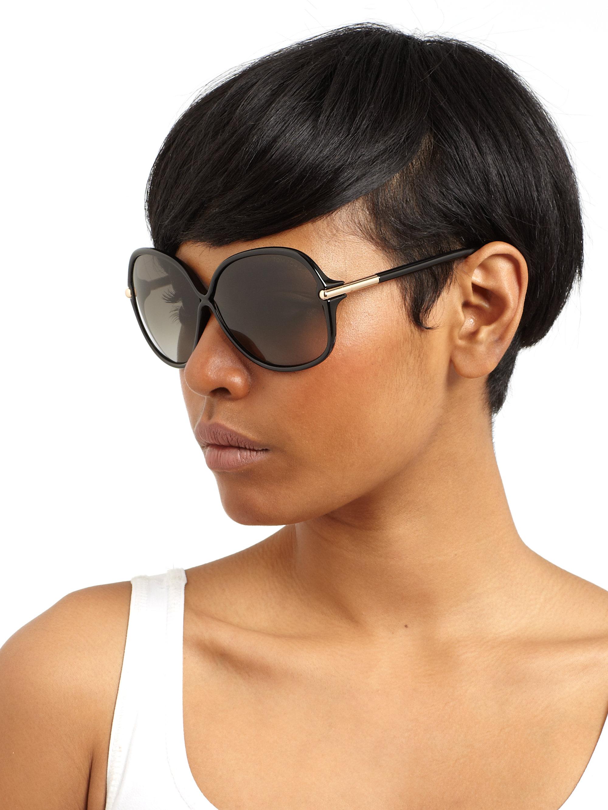 aa0694e6ea Tom Ford Islay Round Sunglasses in Black - Lyst