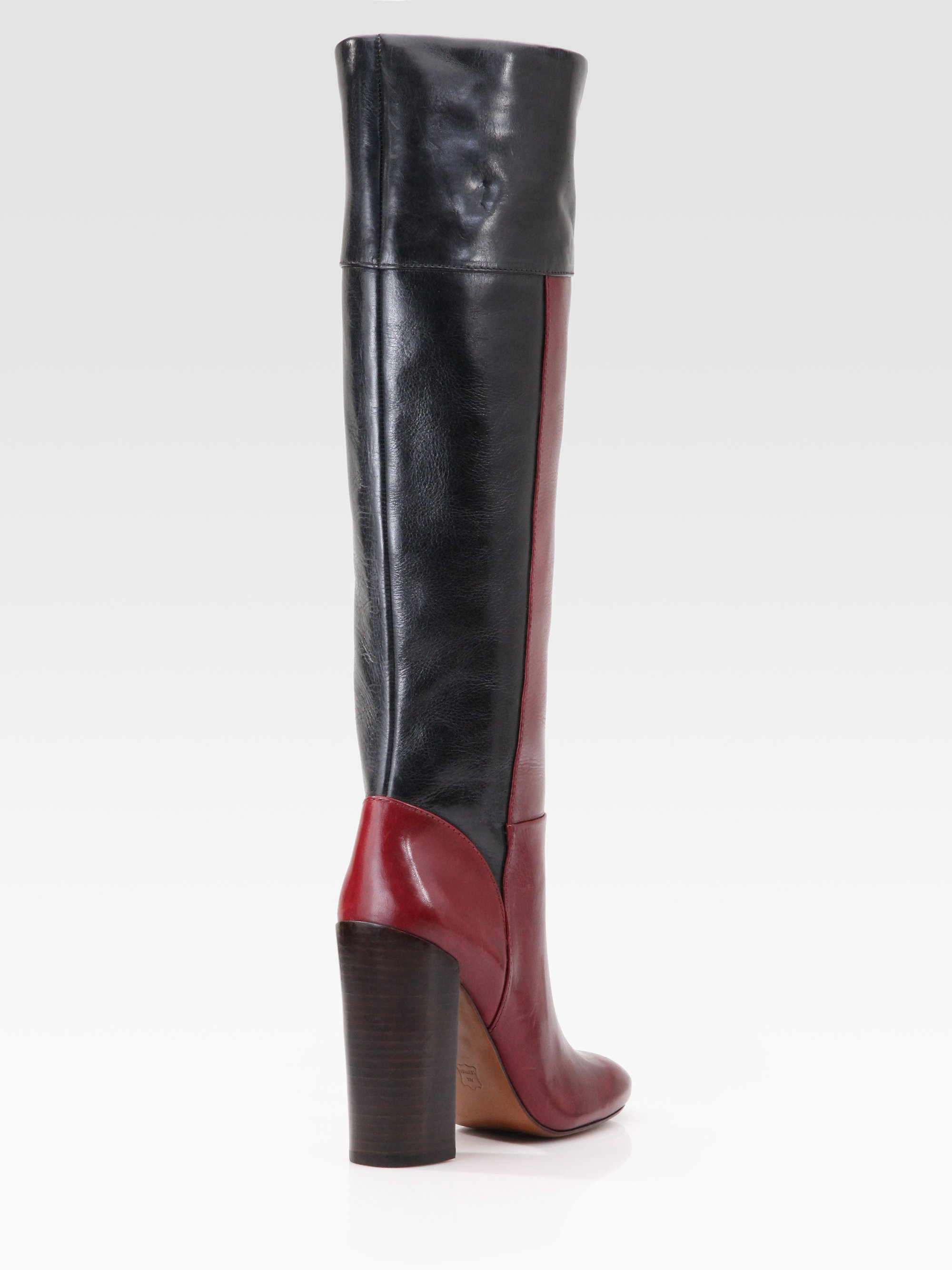 Tory burch Alicia Leather Colorblock Kneehigh Boots in Red | Lyst