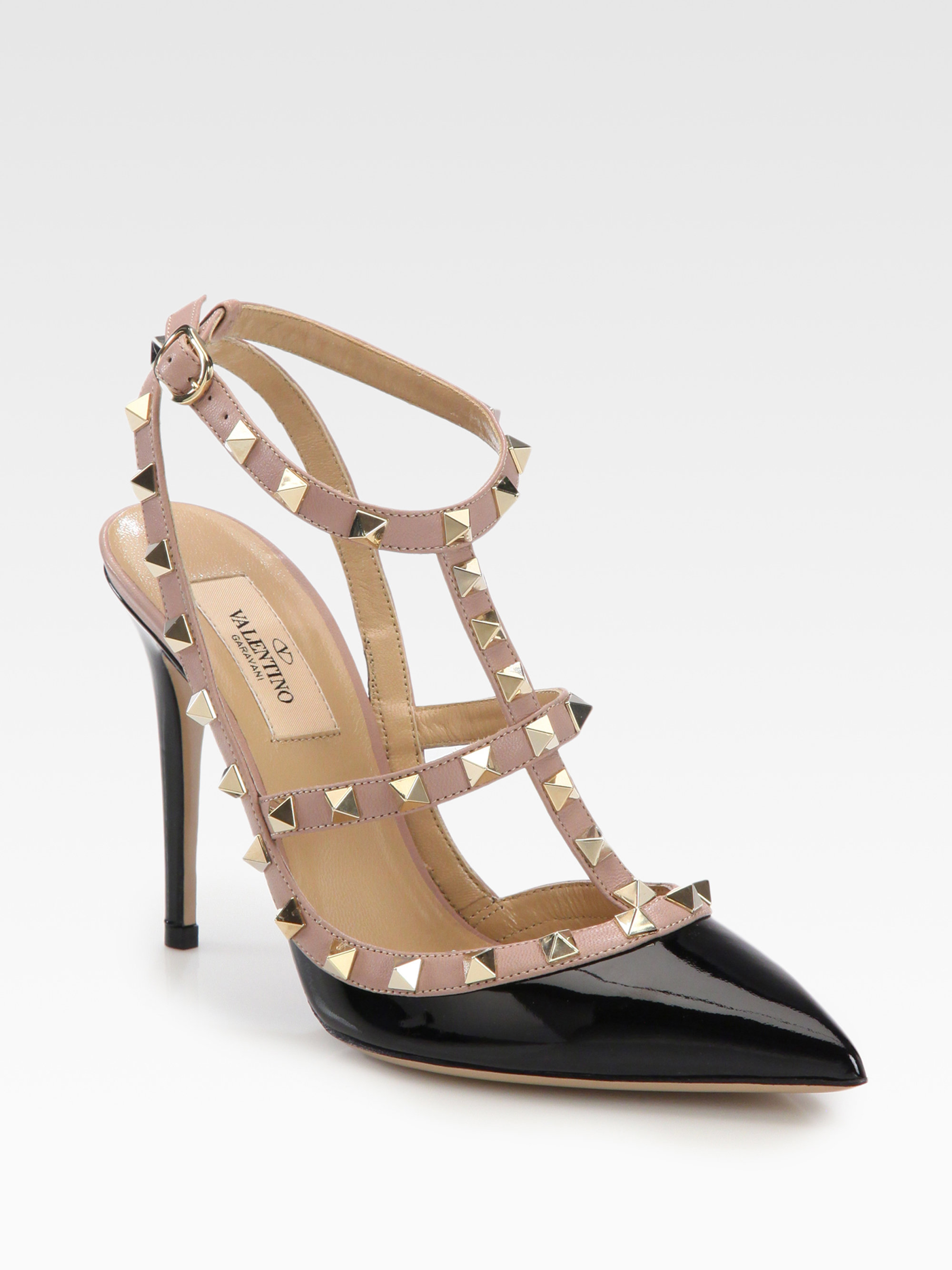 valentino patent leather rockstud slingback pumps in black lyst. Black Bedroom Furniture Sets. Home Design Ideas