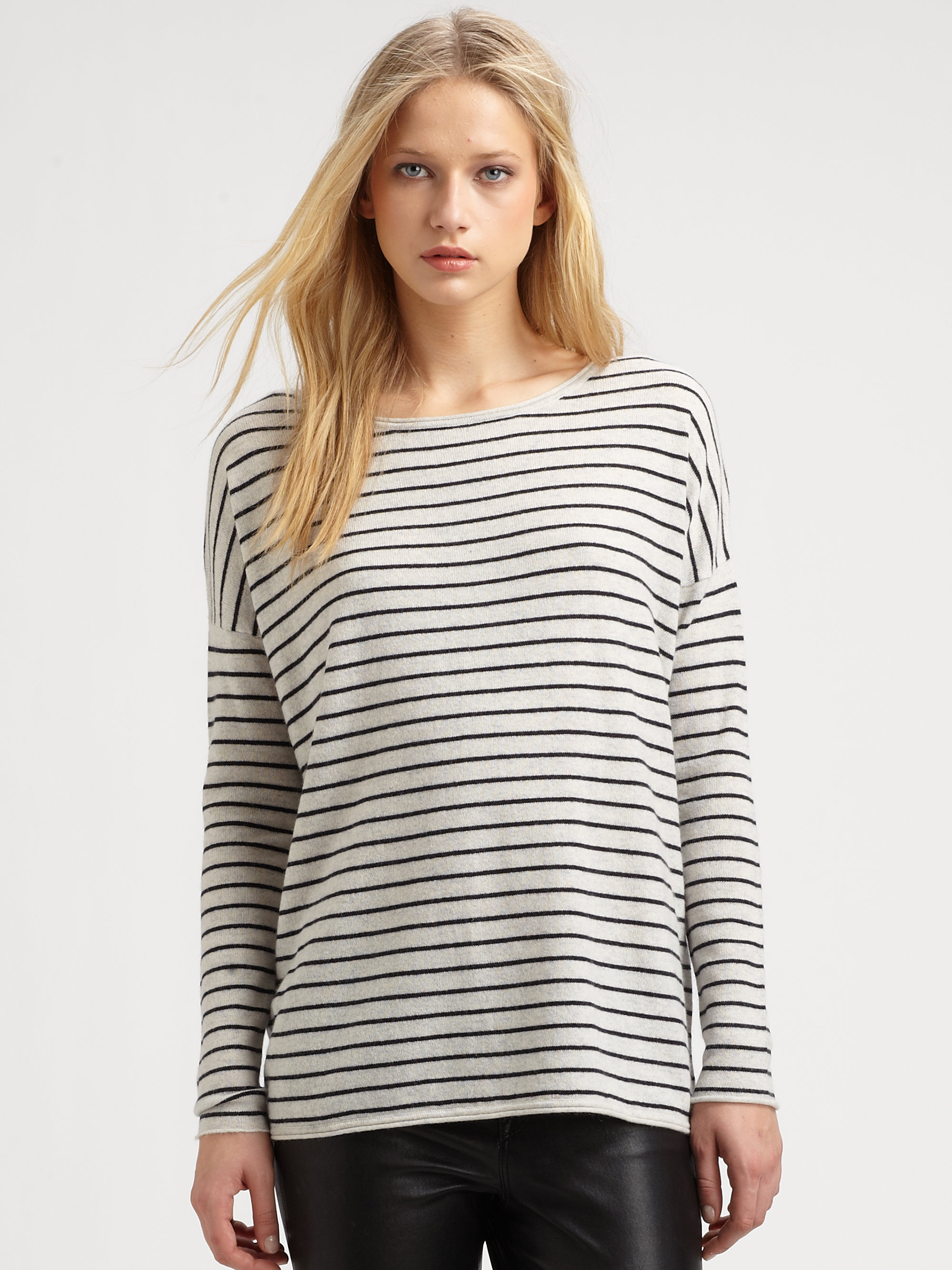 a49a3c2048f9 Vince Striped Wool Cashmere Sweater in White - Lyst