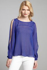 BCBGeneration Royal Blue Dotted Chiffon Slit Sleeve Open Back Blouse - Lyst