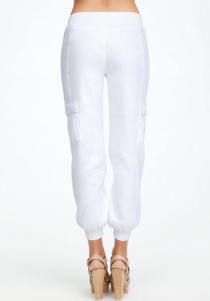 Bebe Nicola Linen Drawstring Pant In White Lyst