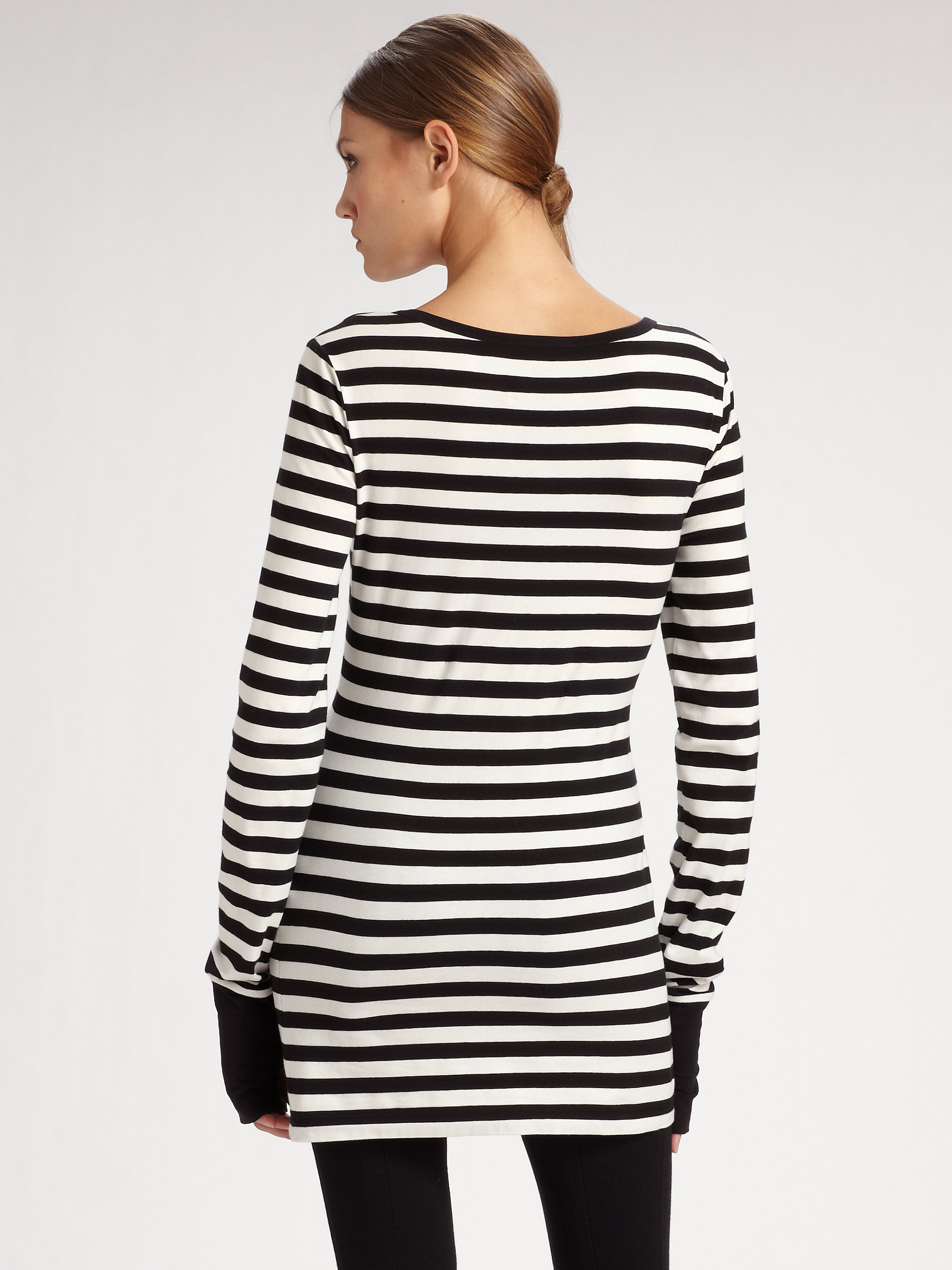 Lyst Dkny Striped Tunic Top In Black