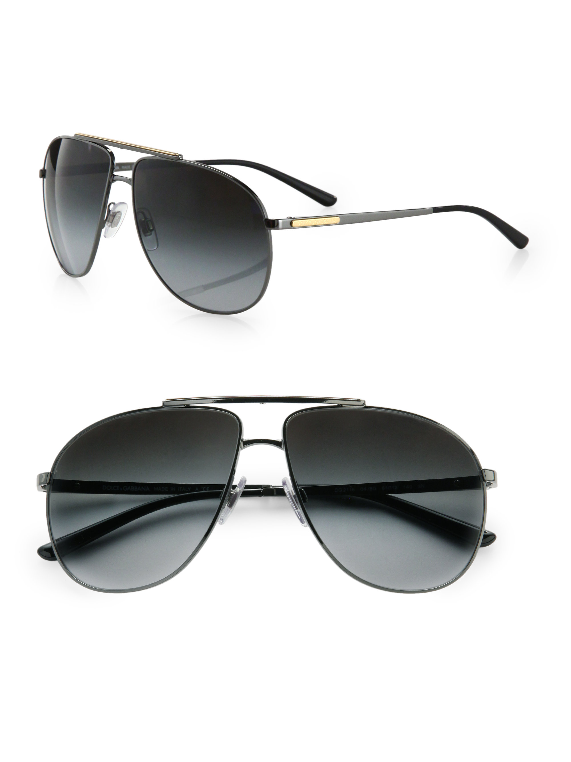 b22acc48492 Lyst - Dolce   Gabbana Metal Aviator Sunglasses in Black for Men