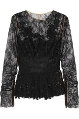 Oscar de la Renta Lace and Silkchiffon Top - Lyst