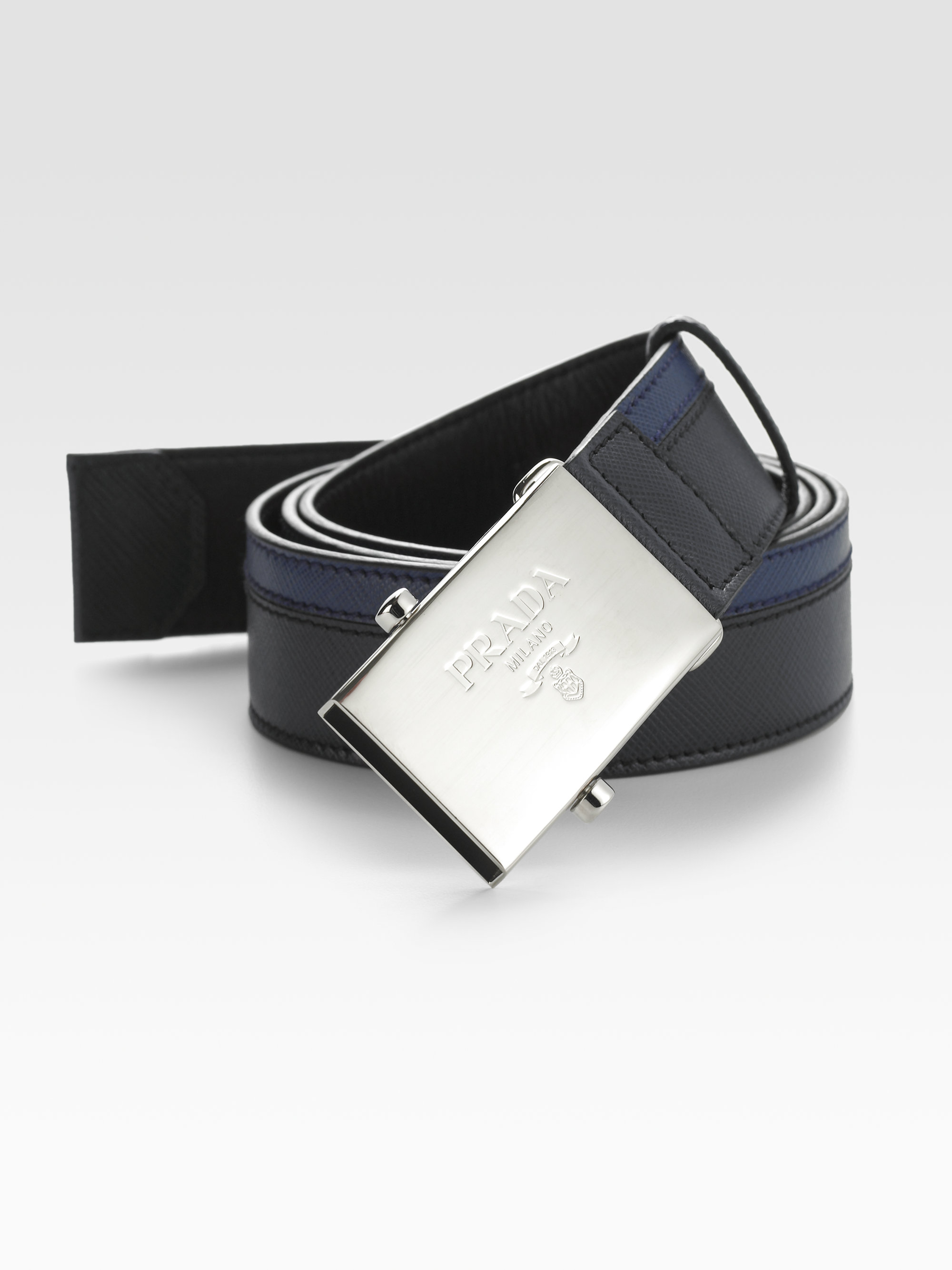 cb9dee03561e6 get lyst prada saffiano striped leather belt in blue for men 201cb a6950